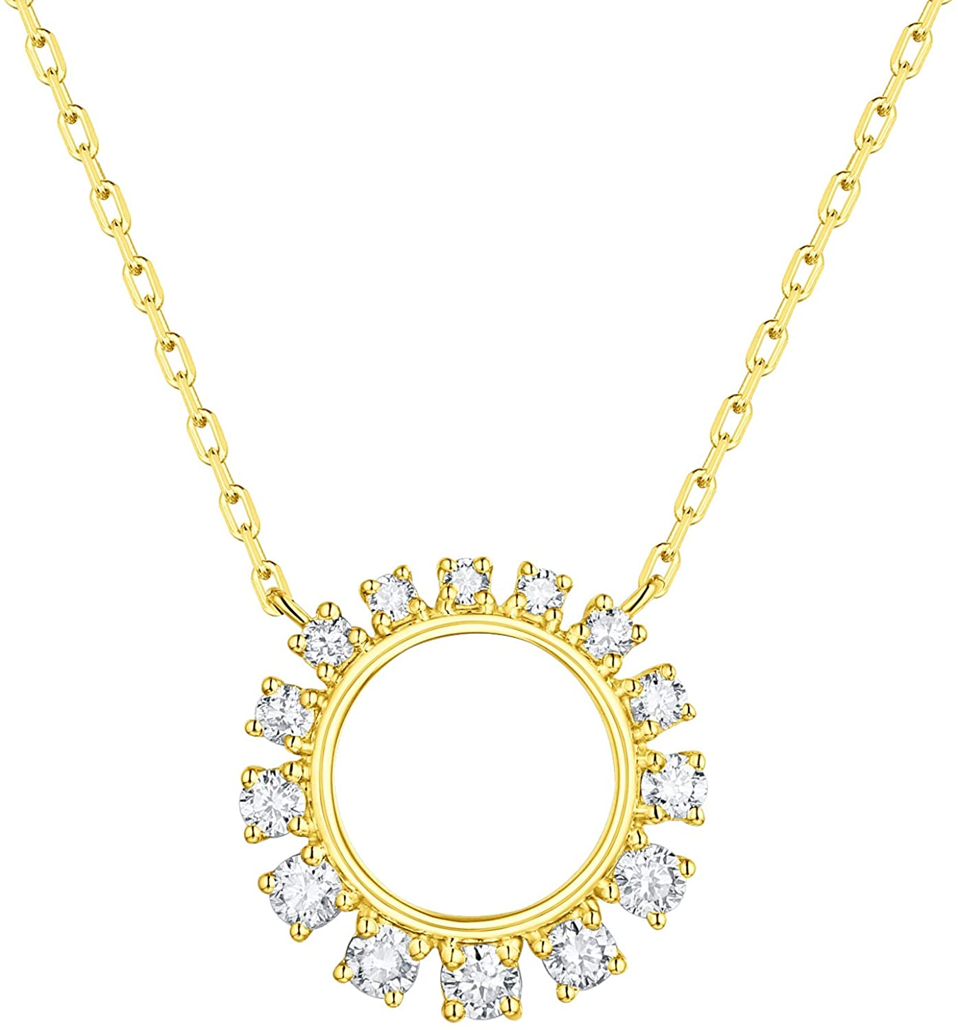 Prism Jewel 0.32Ct Natural Diamond Circle Shape Arch Style Necklace Crafted in 14k Gold