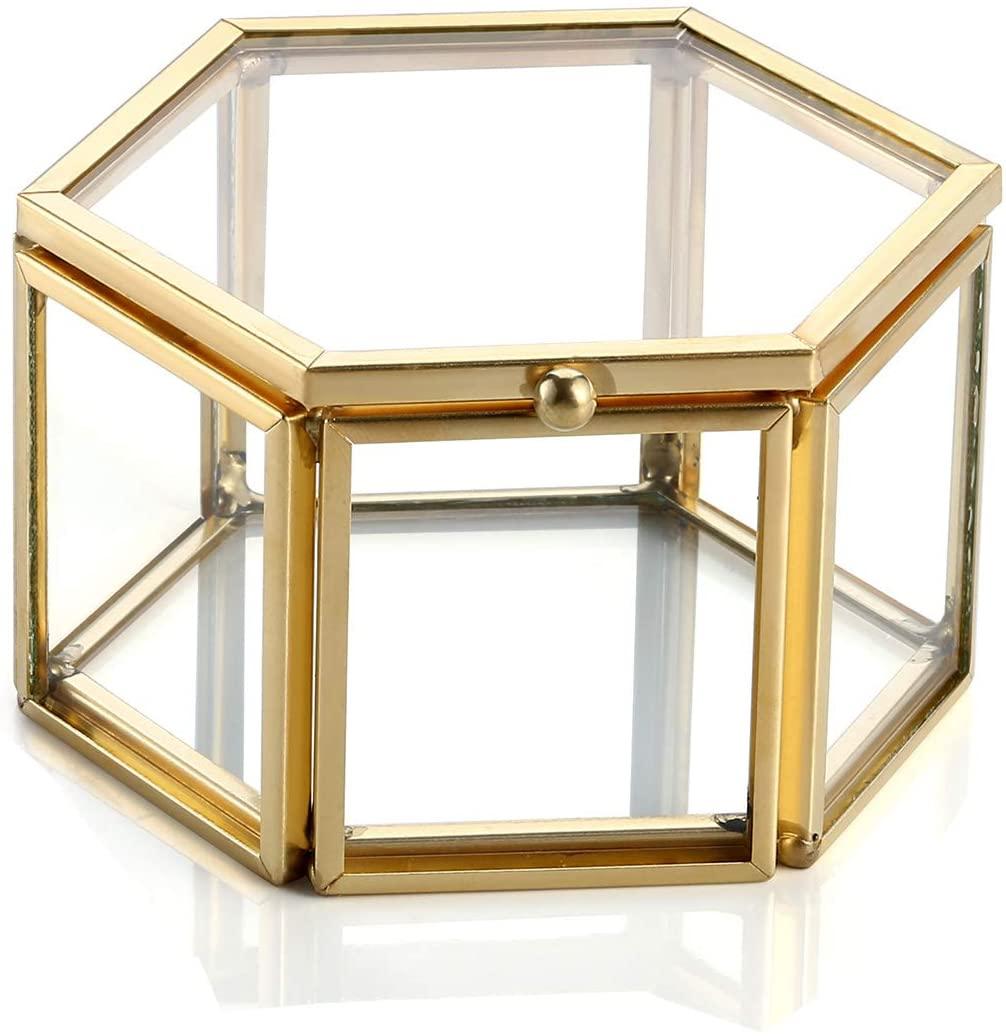 Jovivi Gold Copper Clear Glass Lid Terrarium Box/Bracelet Necklace Earrings Ring Jewelry Display Organizer Decorative Box Case Home Office Decor