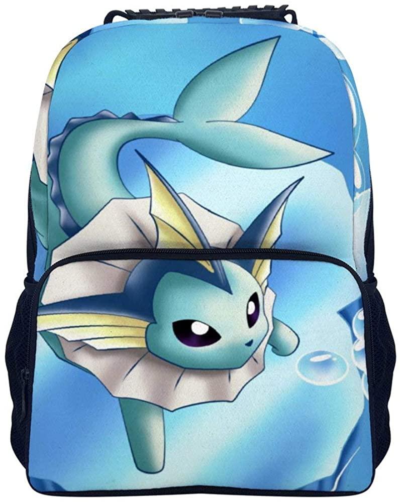 School Backpack Vaporeon Pokemon 2 Casual Daypack Student Laptop Backpack 15.7 Inch for Teenagers Men Women