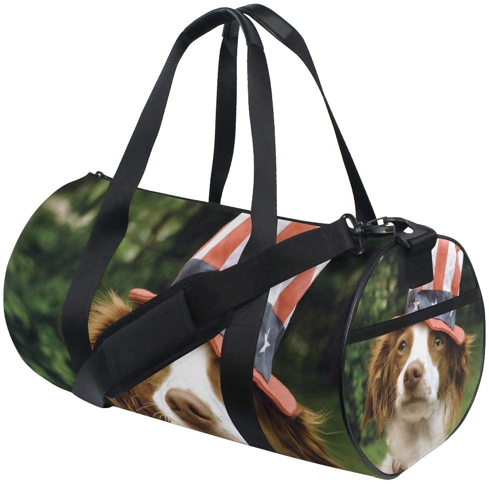 Foldable Duffle Bag Dog With American Flag Hat Lightweight Travel Sports Gym Bags Overnight for Women Men