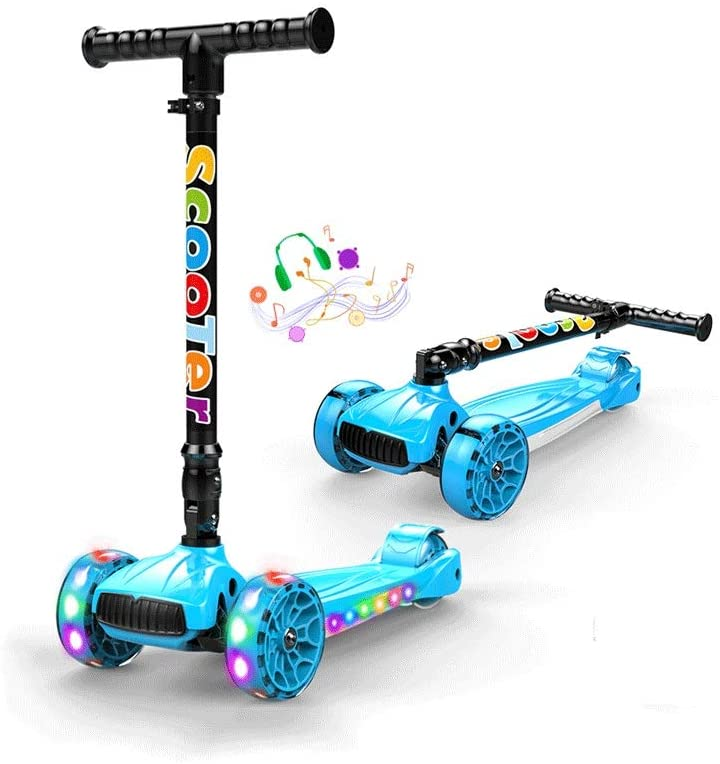 LRHD Mini Scooter for Kids, Lights Up Scooters for Toddlers Girls & Boys, with Anti-Slip Deck, Removable Seat & Adjustable Height, Design for Children Ages 2-8
