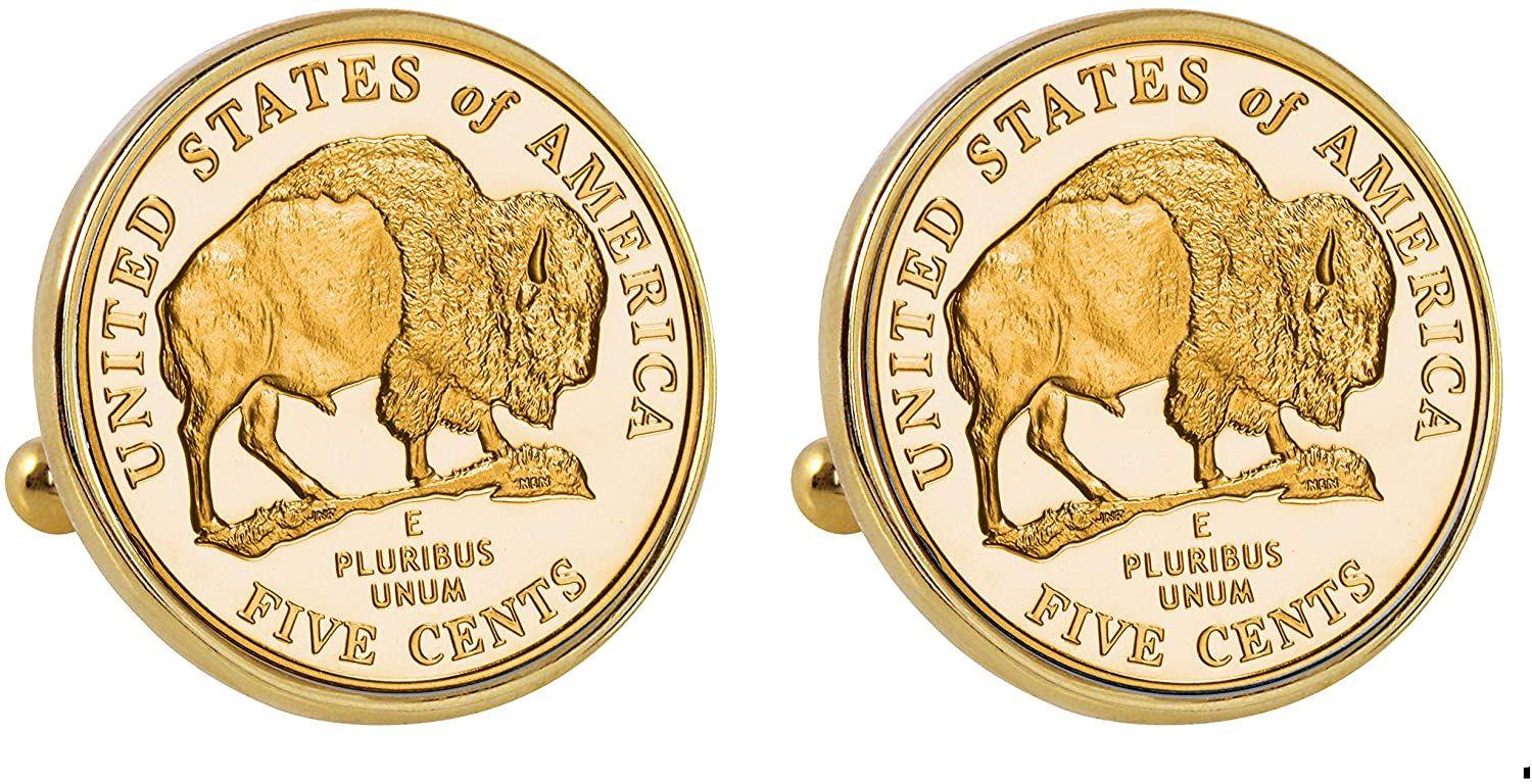 American Coin Treasures Gold-Layered 2005 Bison Nickel Goldtone Bezel Cuff Links
