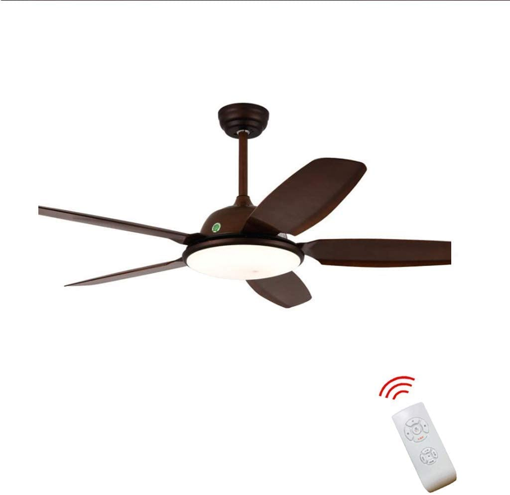 Wooden Fan Light Remote Control Continental Industrial Fan Chandelier Retro Bar Restaurant with Ceiling Fan, Living Room, Dining Room Retro Remote Control Fan Light Wood Sheet 52-Inch