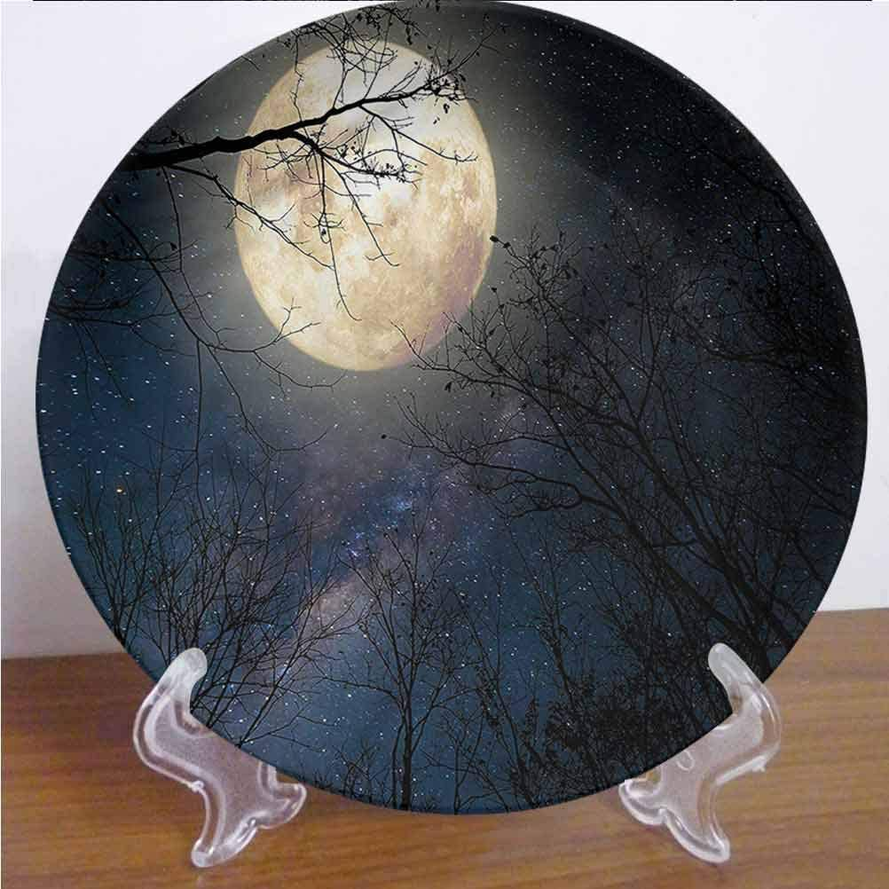 Channing Southey 10 Inch Night Sky Ceramic Decorative Plate Milky Way Stars in Sky Tableware Plate Decor Accessory for Pasta, Salad,Party Kitchen Home Decor