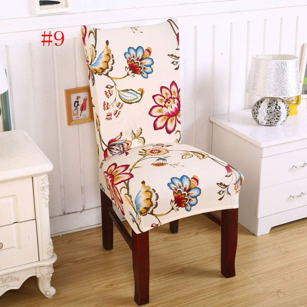 BEOTARU Floral Chair Covers Print Spandex Stretch Seat Slipcover Multifunctional Home Dining Chairs Cover