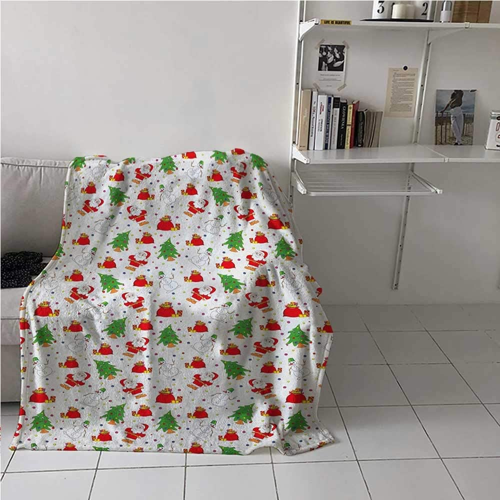 painting-home Breathable Blanket Xmas Santa Claus Tree on Colorful Polka Dot Backdrop Surprise Boxes Artwork Lightweight Warm Blankets for Kid Baby Toddler Teenager Green and Red 54 x 84 Inch