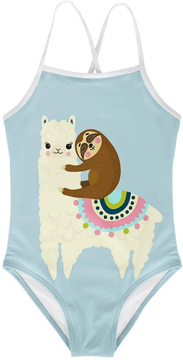 KiuLoam Cute Llama and Sloth Girls One-Piece Swimsuit Quick Dry Beach Swim Bathing Suit for 3-4 Years Little Girls