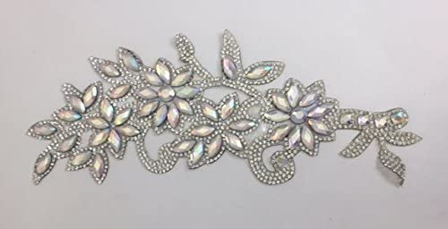 ModaTrims Hot-Fix Acrylic Rhinestone Applique Patch (AB and Silver Rhinestones, 8.5 Inch x 4.5 inch)