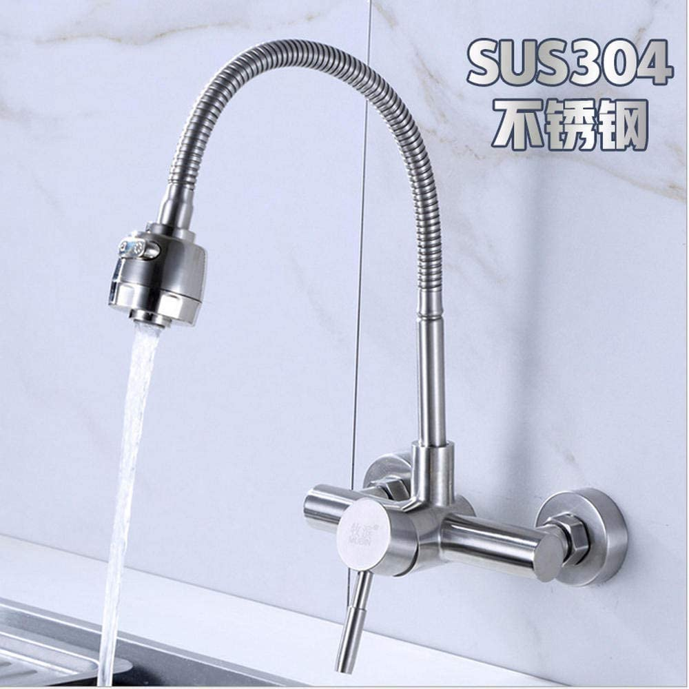 Domestic Faucets 304 Stainless Steel Wall Hot and Cold Water Faucet Splash Head Plumbing Cold and Warm Wash Basin Double Hole Faucet Horizontal, Qi Xian