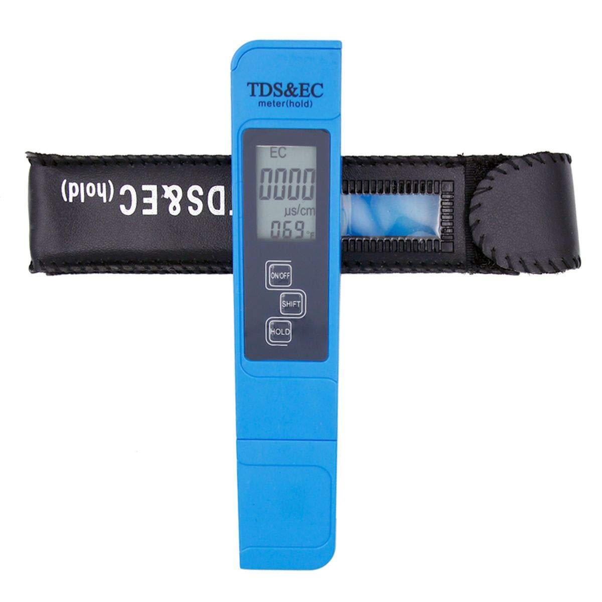 3 in 1 Temperature TDS EC Meter Pen Water Quality Tester Measurement EC&TDS Tester 0-9000 ppm for Nutrient Tester Measurement Range for Aquarium, Drinking, Pool and Aquarium Water