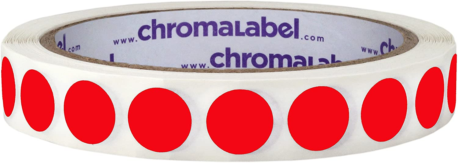 ChromaLabel 1/2 Inch Round Removable Color-Code Dot Stickers, 1000 Labels per Roll, Red