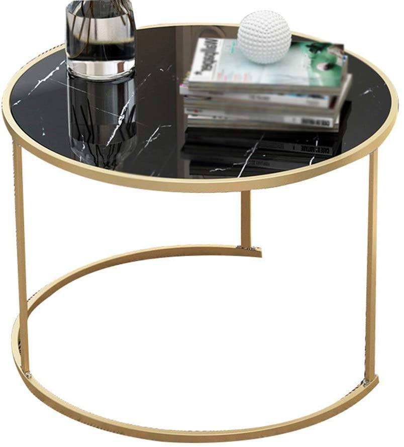GWW Perfect Furniture Marble Textured Small Round Table, Iron Art Support Coffee Table Firm Living Room Book Room Coffee Shop Reading Table Can Move (Color : B, Size : 6038CM)