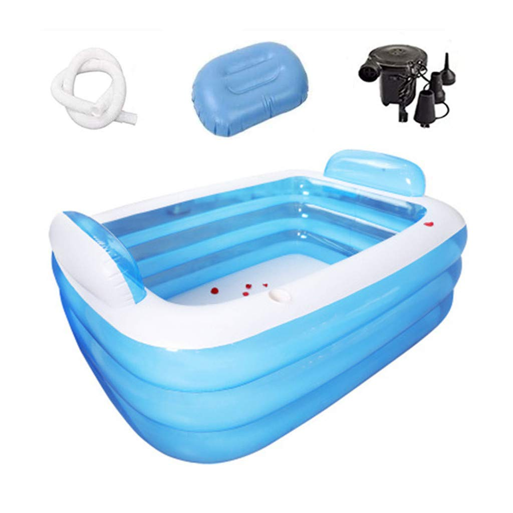 Electric Air Pump, Family Inflatable Swimming Pool, Pillow, Drain, Kiddie Pool for Kids, Adults, Infant, Garden, Backyard, Outdoor Swim Center Water Party