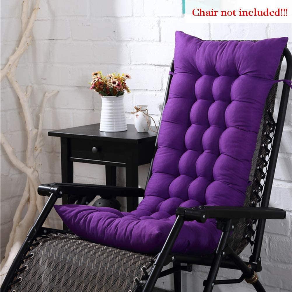 MEVIDA Tufted Thicken Long Chair Cushion, Non Slip Solid Color Chaise Lounger Seat Cushion Rocking Chair Pad Patio Recliner Cushion Sofa Cushion-Purple 48x125x8cm(19x49x3inch)