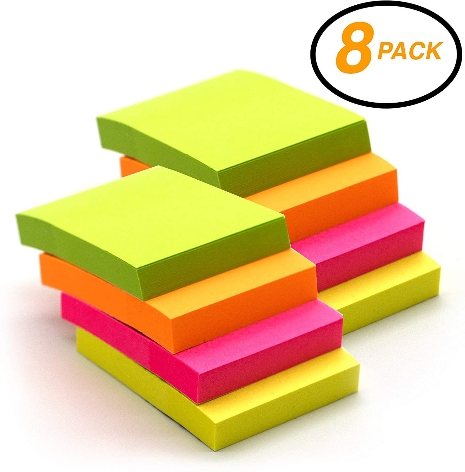 Emraw Tiny Sticky Notes Stick It Stickies, Plain Small 1.5 x 2 Rectangular Neon Bright Colored Removable Self Stick On Note Memo Pad for Office, Home, School - Pack of 8 Pads