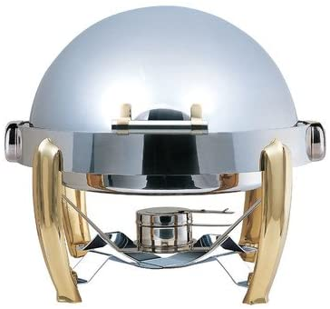 Medium Odin Round Roll Top Chafing Dish with Brass Plated Legs