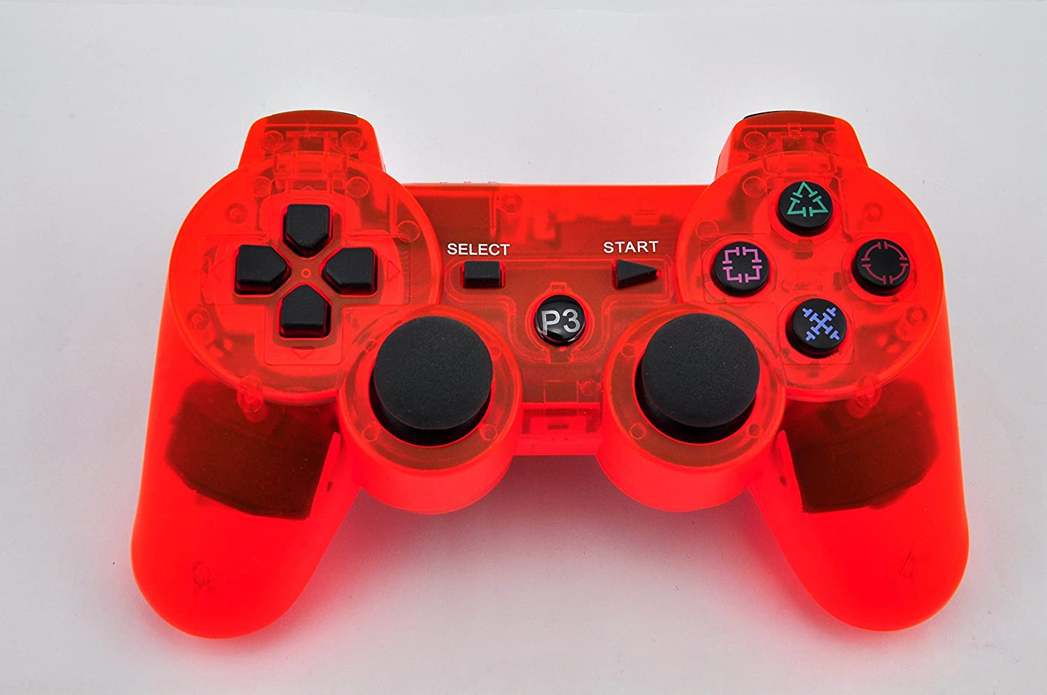 Senkon® Bluetooth Wireless Controller For Sony Playstation 3 In Transparent Light Red