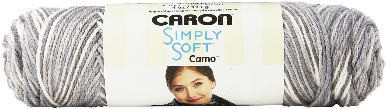 Caron 29401111005 Simply Soft Camo Yarn, 4 Ounce, Snow Camo, Single Ball