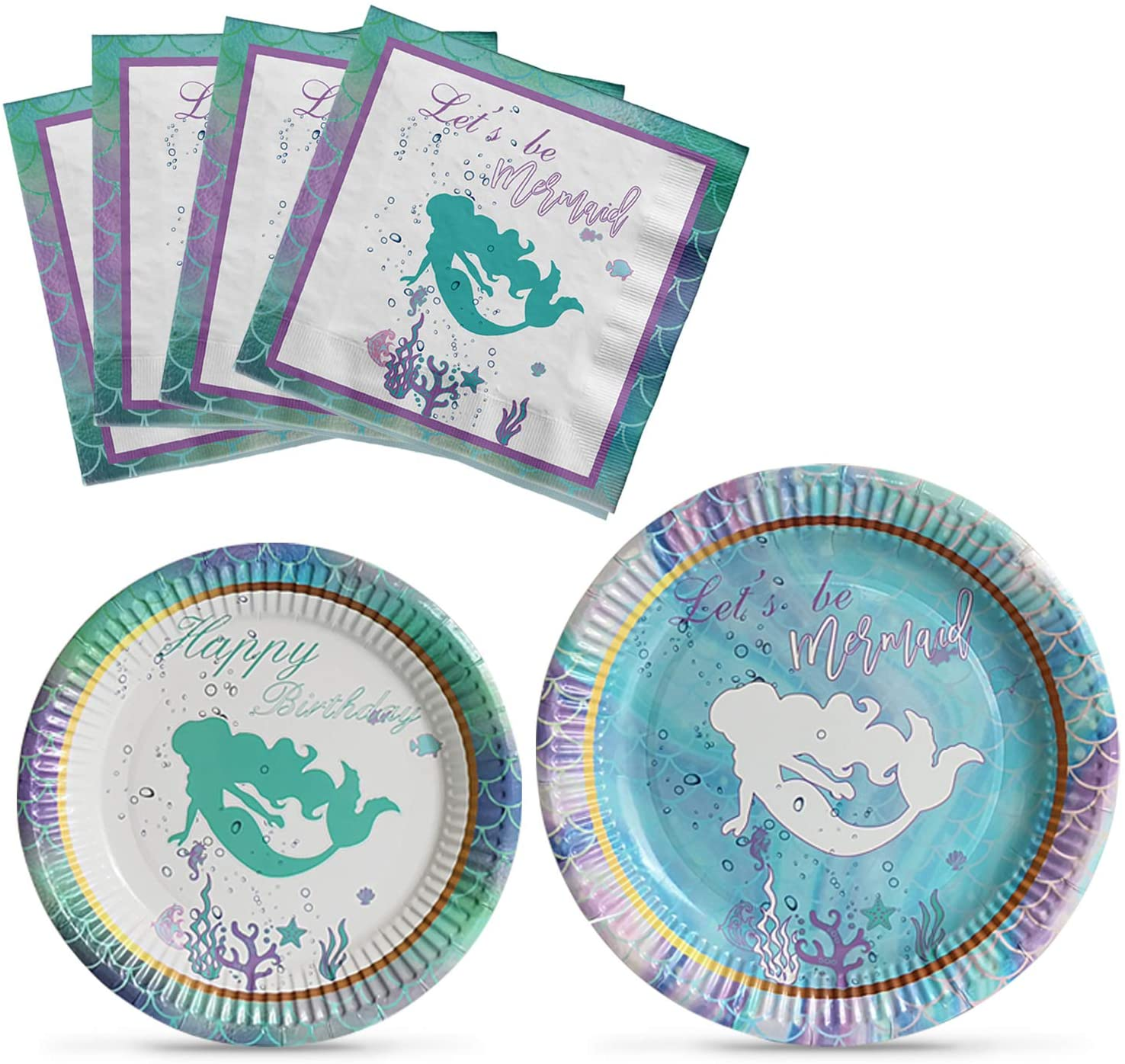 NAIWOXI Mermaid Birthday Party Supplies kit - Mermaid Plates and Napkins Party Decorations for Girls Birthday Baby Shower Wedding Serves 16 Guests 48 Pieces