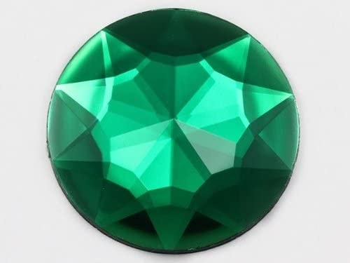 KraftGenius Allstarco 43mm Green Emerald H106 Large Flat Back Round Acrylic Rhinestones Plastic Circle Gems for Costume Making Cosplay Jewels Pro Grade Embelishments - 4 Pieces