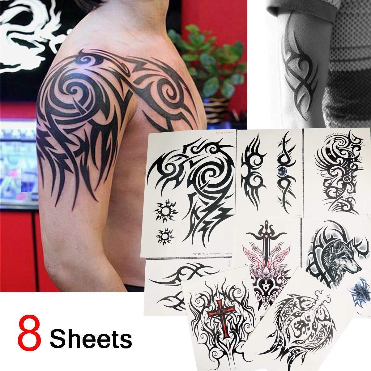 Kotbs 8 Sheets Waterproof Large Temporary Tattoos Men Tribal Totem Tattoo Sticker Make up Body Art Fake Tattoo