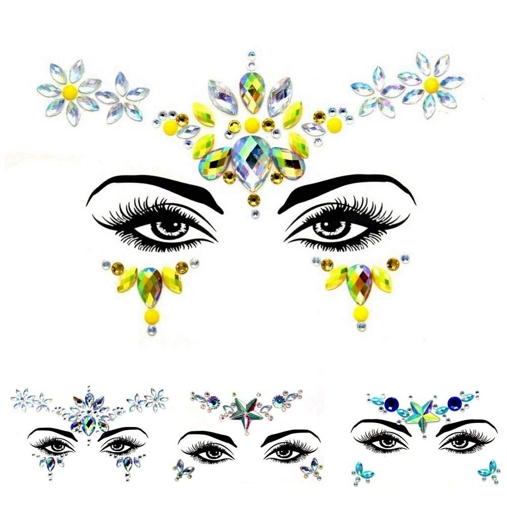 4 Sets Women Face Sticke Temporary Stickers 3D Crystal Face Eye DIY Rhinestone Sticker Face Jewelry Mermaid Face Jewels Tattoo for Party, Rave Festival