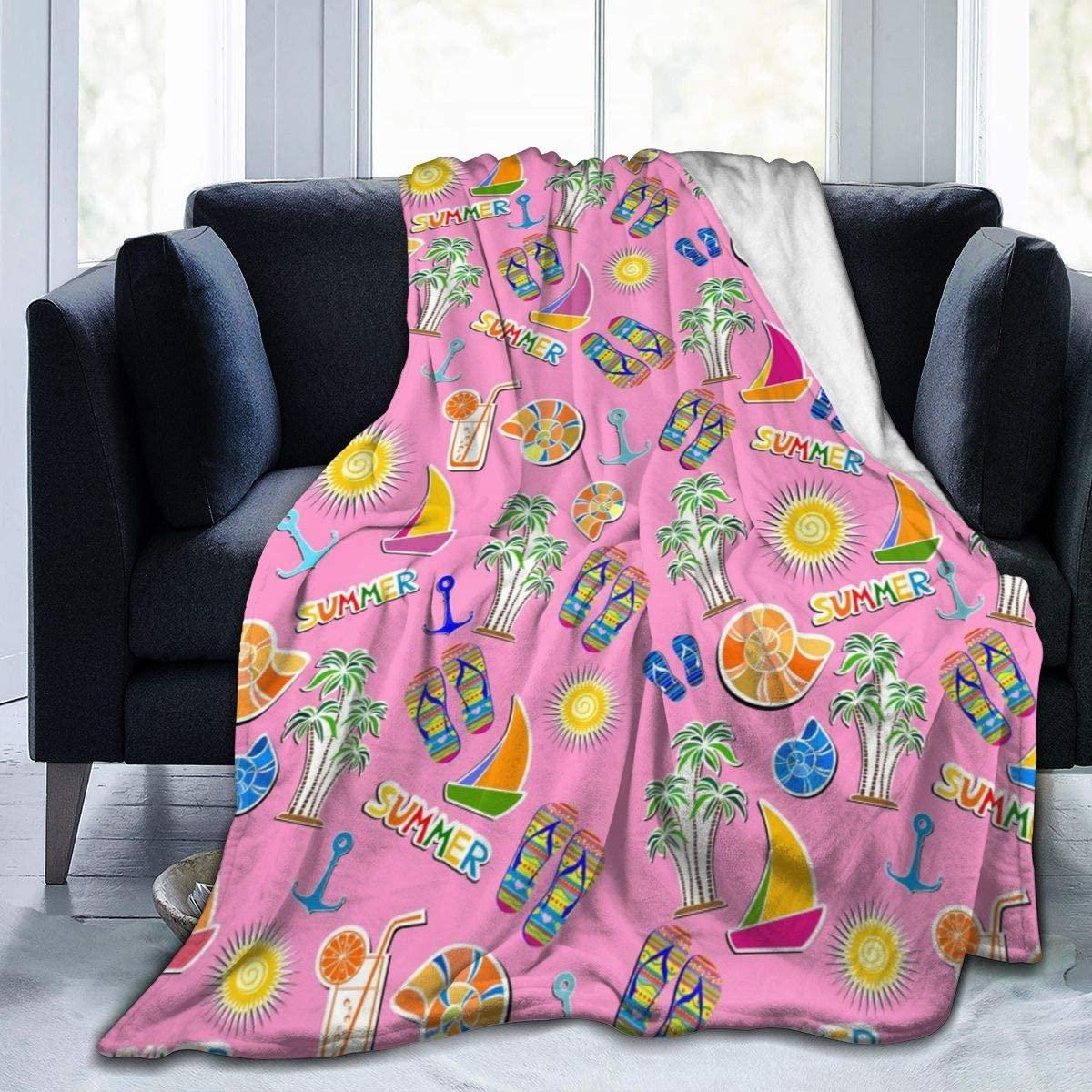 Micro Fleece Plush Soft Baby Blanket Pink Summer Beach Palm Tree Fluffy Warm Toddler Bed/Crib Blanket Lightweight Flannel Daycare Nap Kids Sleeping Tummy Time Throw Blanket Girls Boy Kid/Baby