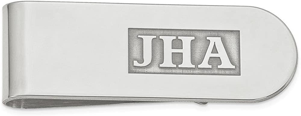 Solid 925 Sterling Silver Raised Letters Monogram Slim Business Credit Card Holder Money Clip - 54mm x 19mm