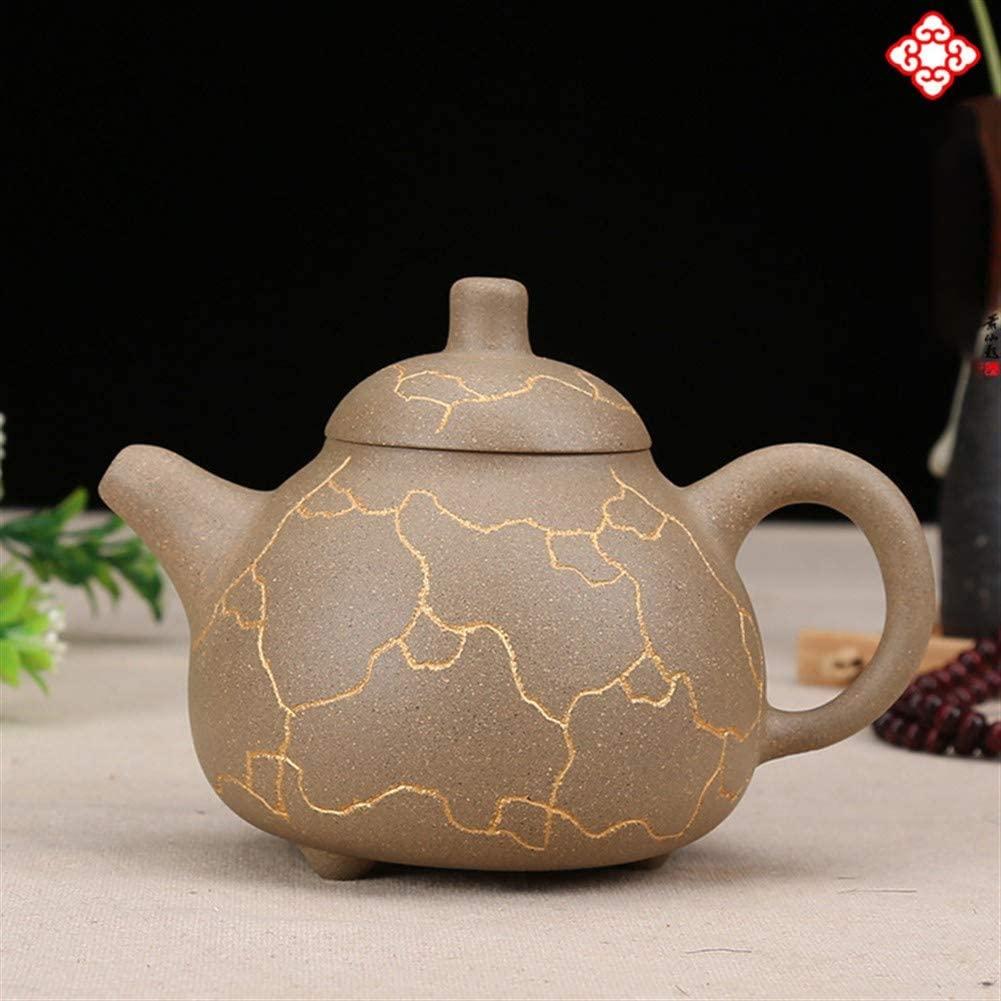 Elegdy Dingshuzhen Handmade Ceramic Teapot Teapot Ribbed Pattern (Color : Purple mud)