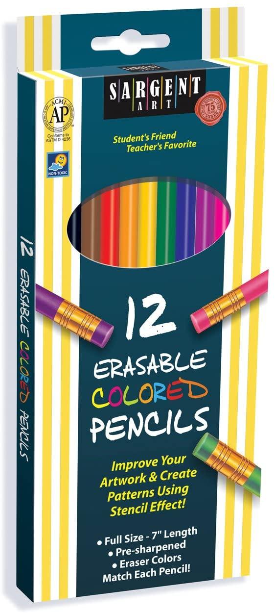 Sargent Art 22-7203 Assorted Erasable Colored Pencils, 12 Count