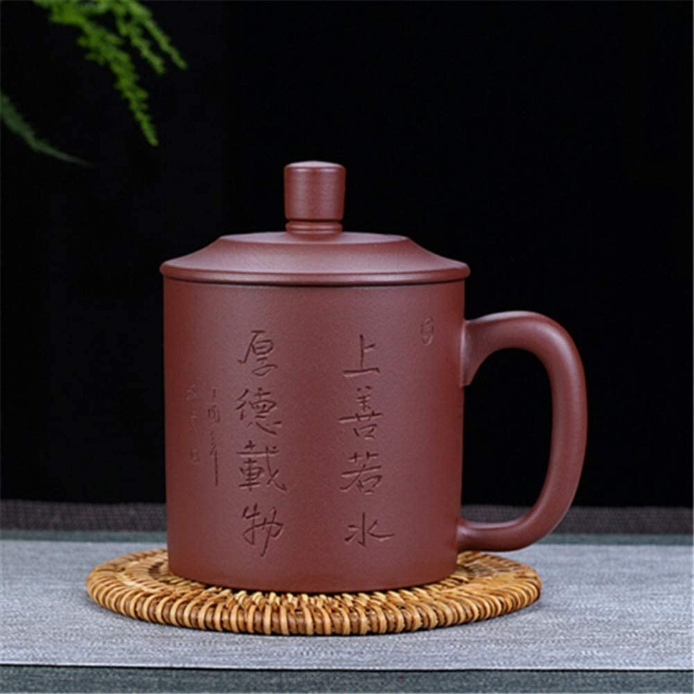 SHENLIJUAN purple clay ore cup on the cover of charity hand-Cup (Color : Carved version)