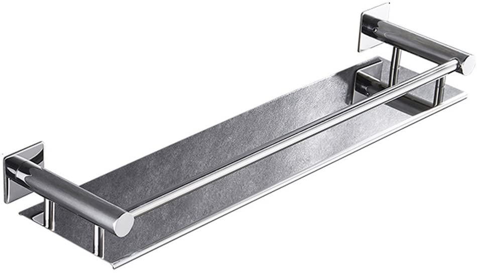 Mr. Bathroom Bathroom Shelf Shower Organiser Wall-Mounted Stainless Steel Punch Free Glue Fence Tower Hanger (Color : Square Base, Size : 51x14x5.5cm)
