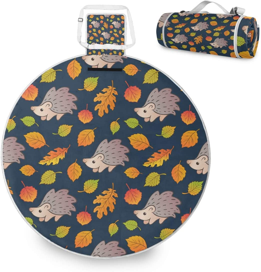 Autumn Leaves Hedgehog Large Picnic Outdoor Blanket Waterproof Handy Picnic Mat for Family Camping Beach Park, Round 59 inch