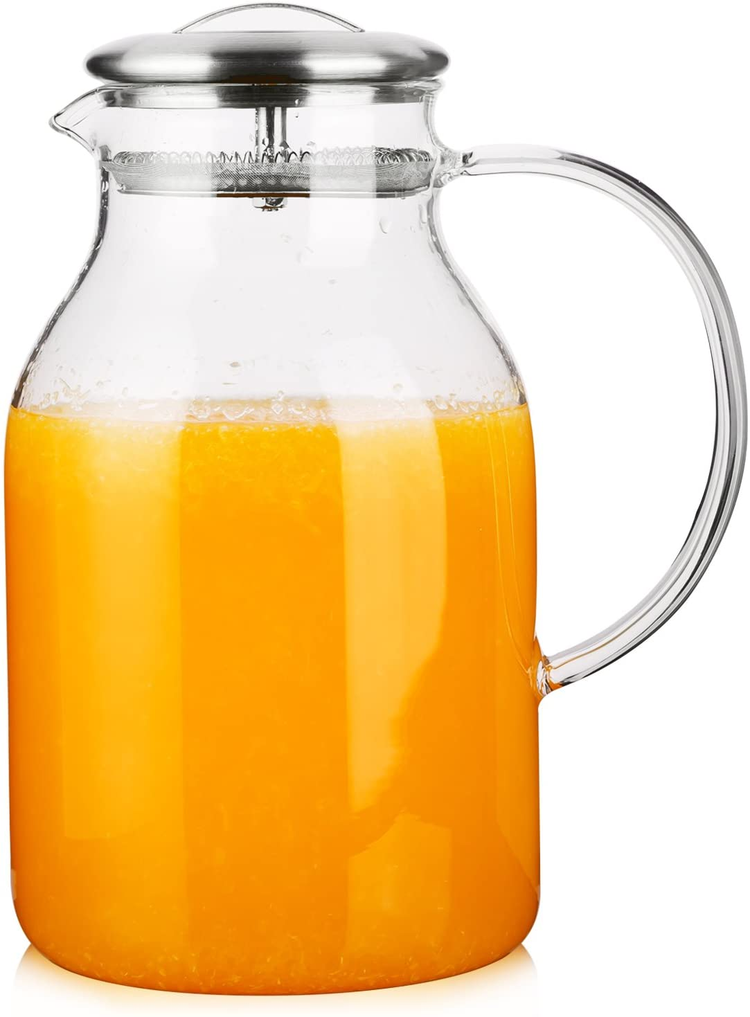 Hiware 68 Ounces Glass Pitcher with Lid and Spout - High Heat Resistance Pitcher for Hot/Cold Water & Iced Tea, Cleaning Brush Included