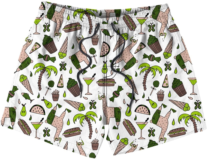 Flamingo Ice Cream Swim Trunks Quick Dry Shorts Mesh Lining Swimwear Bathing Suits for Boys Children