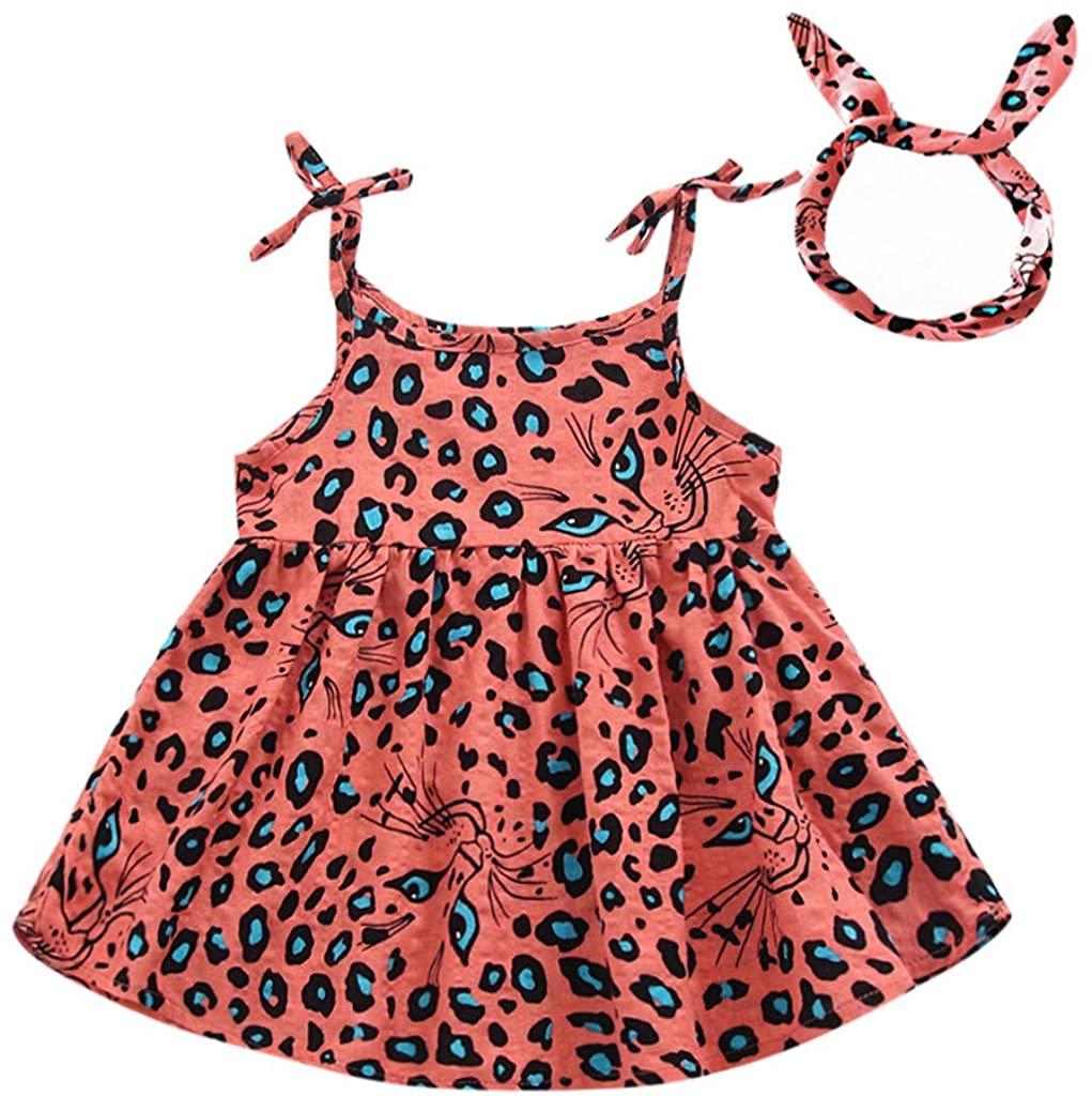 ZEFOTIM Baby Girls Dress,6-24M 2-4Y Toddler Kid Baby Girl Sleeveless Leopard Printed Party Princess Dress Clothes