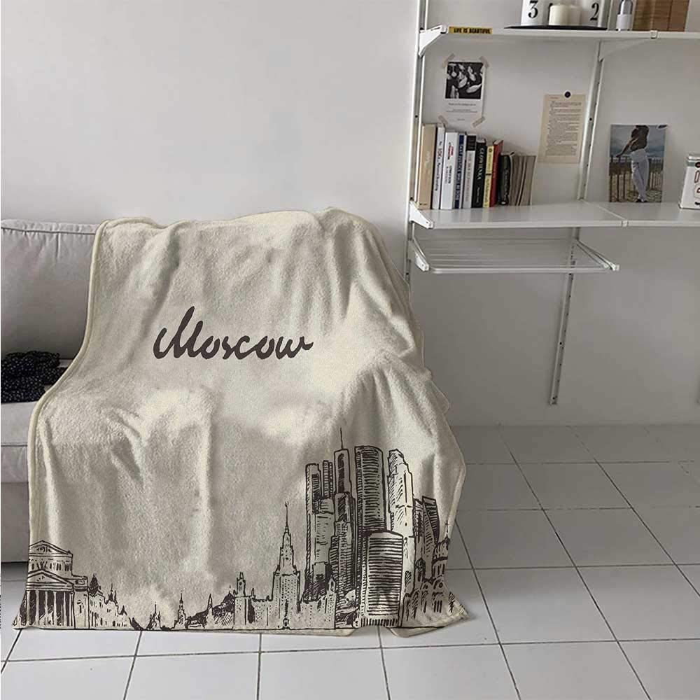 painting-home Soft Blanket Vintage Style Moscow Skyline Silhouette Hand Drawn Sketch Architecture Design All Seasons Thin Quilt for Kids Couch Sofa Beige Dark Taupe 60 x 70 Inch