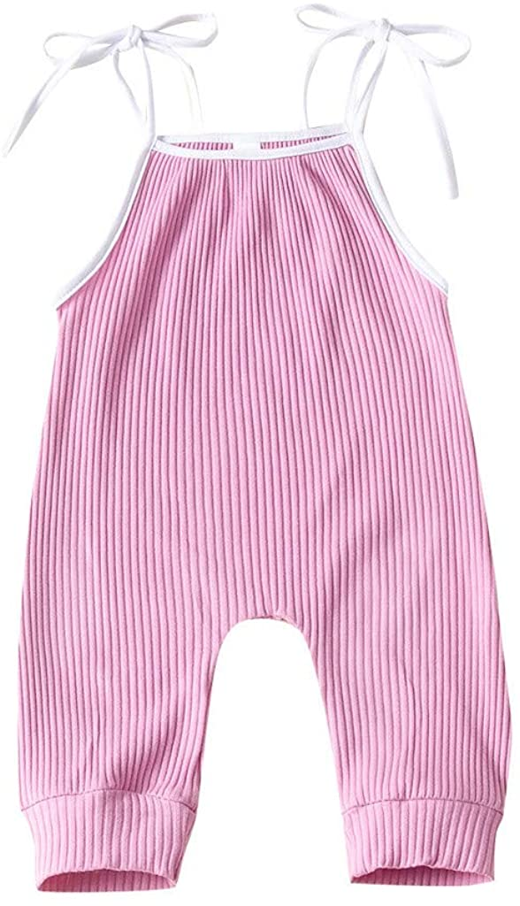 Adeliber Newborn Infant Baby Boys Girls Suspenders Bandage Solid Bodysuit Jumpsuit