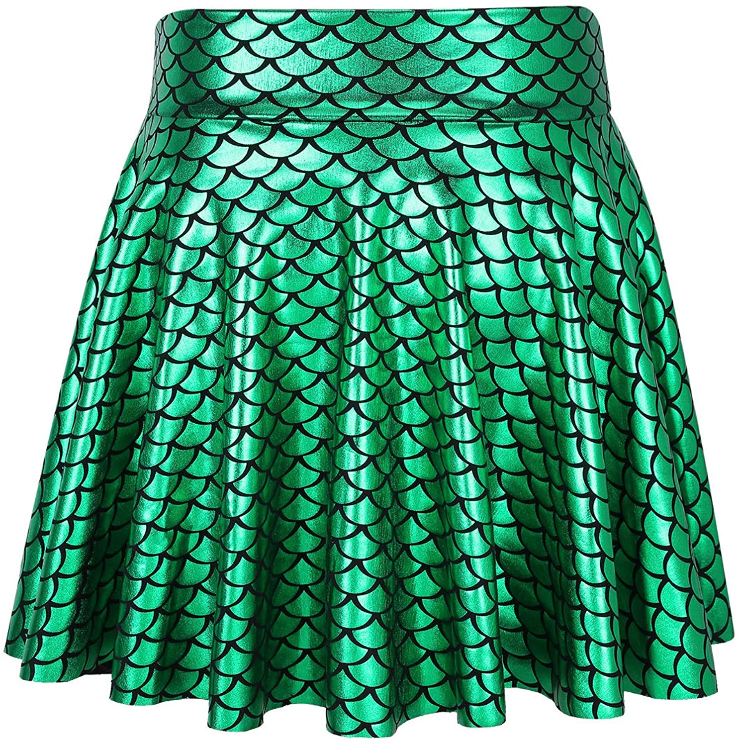 QinCiao Kids Girls Glossy Fish Scales Printed Mini Skirt Flared Dance Skater Skirt for Halloween Mermaid Cosplay Party