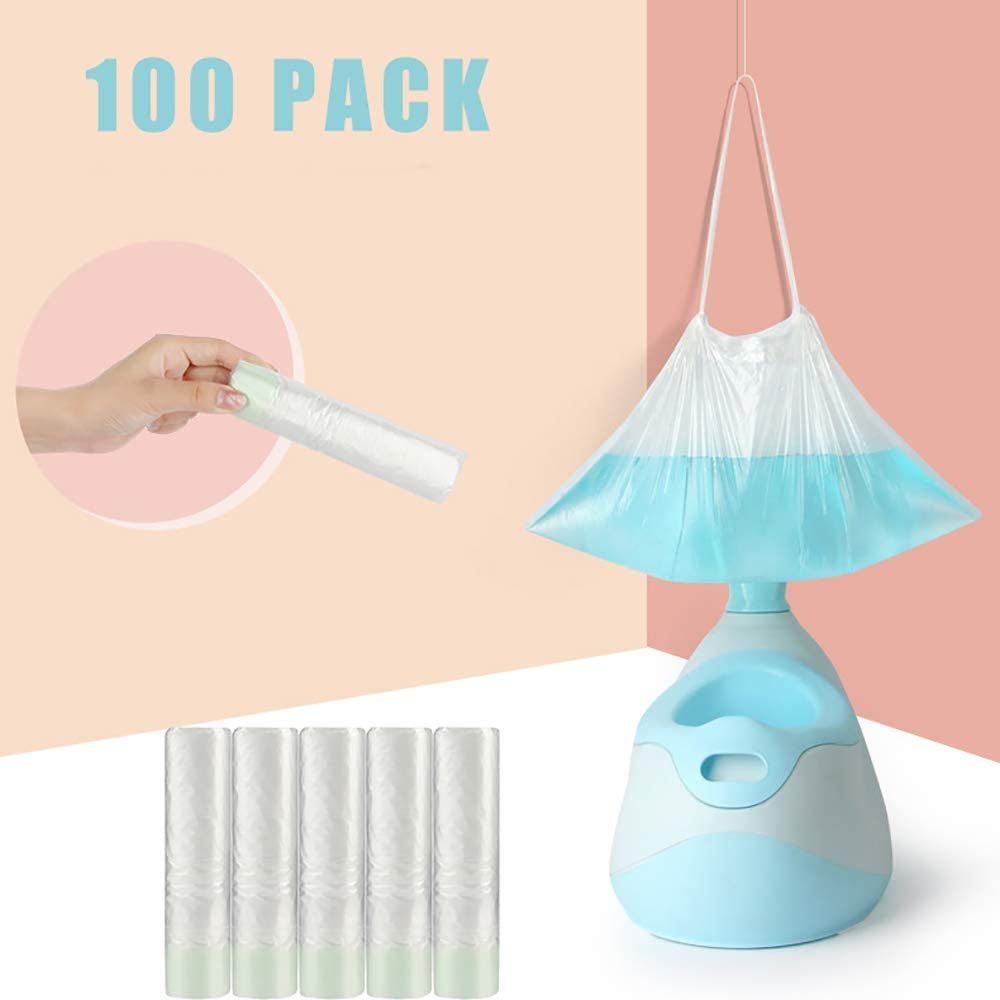 100 Pack Potty Chair Liners with Drawstring Potty Bags Potty Liners for Baby Toilet Disposable Travel Potty Chair Liners for Kids and Baby