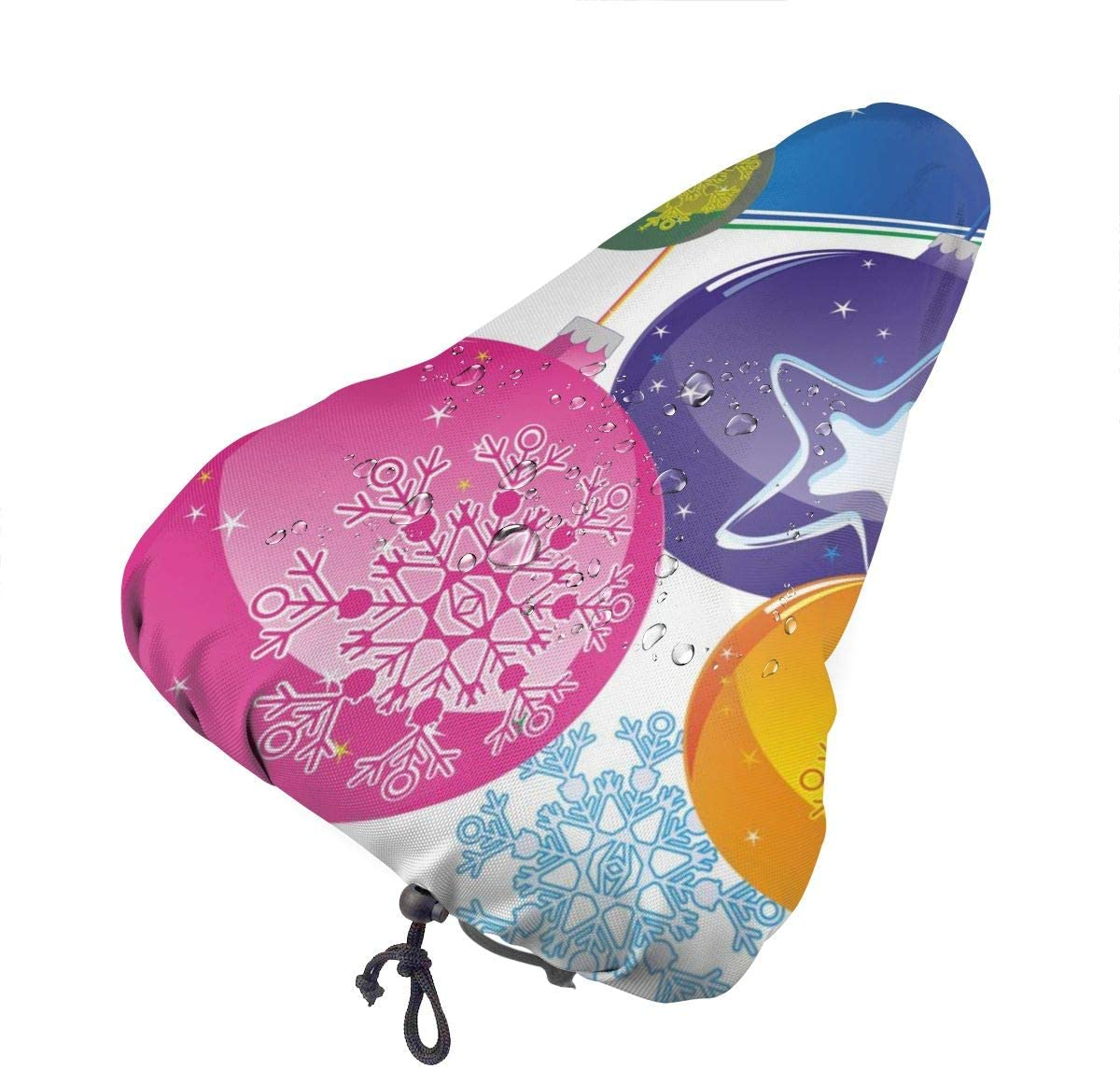 ZHOUSUN Waterproof Bike Seat Cover Watercolor Abstract Blue Retro Floral Bicycle Saddle Rain Dust Covers with Drawstring,Comfort for Women,Men,Kids