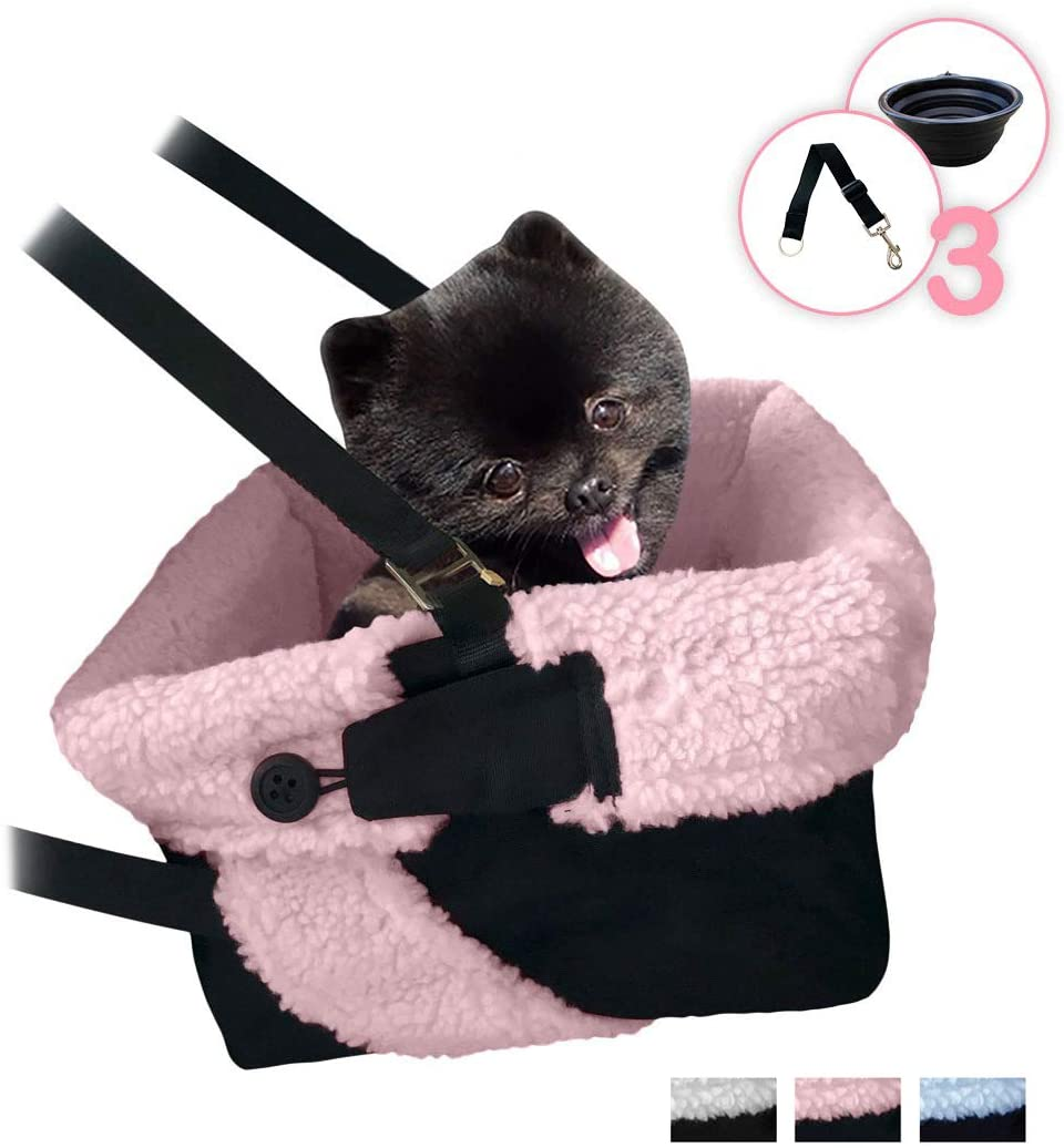 Cozy Boost Premium Quality Dog Booster Seat with Clip On Leash and Collapsible Dish for Small Dogs, Puppies, and Pets
