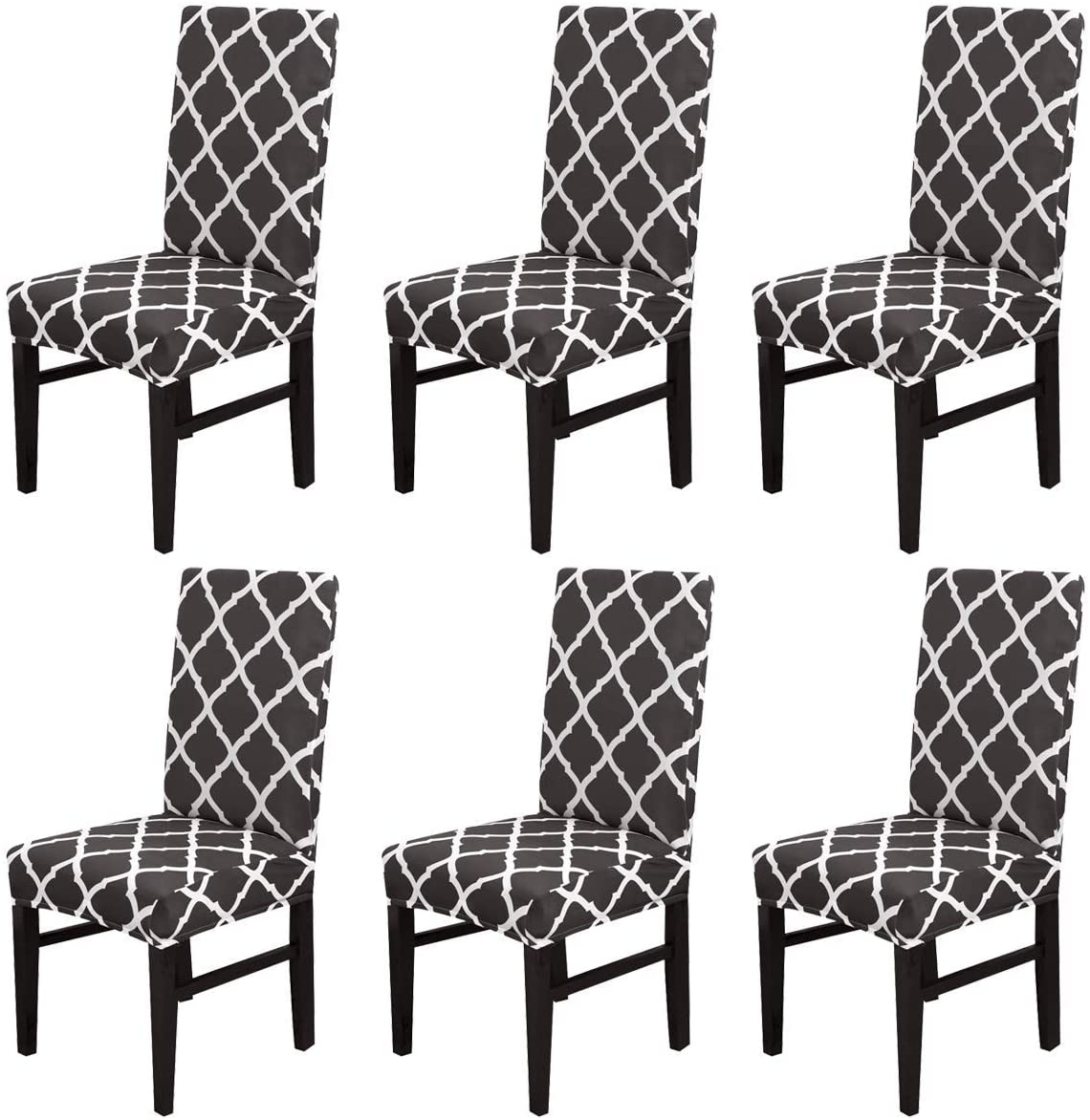 SINOSPARK Chair Cover,Stretch Dining Chair Protective Cover Slipcover,Elastic Chair Protector Seat Covers for Dining Room Wedding Banquet Party Decoration (Black Geometry, 6 Pack)