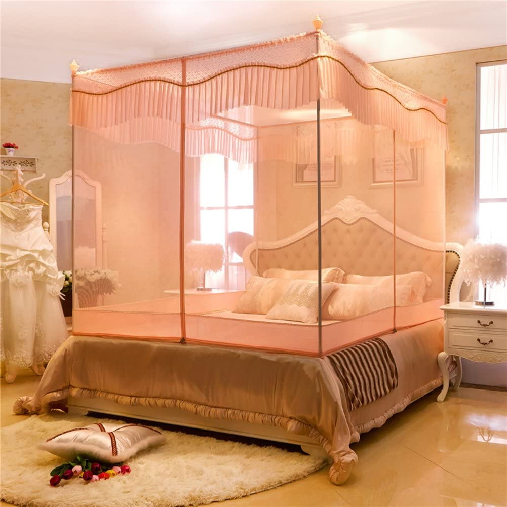 DE&QW Four Corner Zippered Mosquito Net,Net Yarnt Encryption Court Bed Canopy-D Twinch2