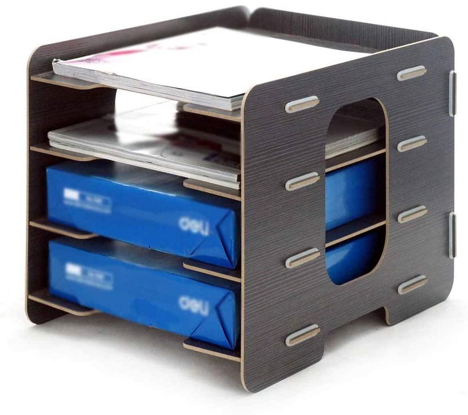 PUEEPDEE File Holder Multi-Grid File Holder Bill Express Single Storage Rack Plug-in Wooden Desktop File Basket (Color : B, Size : 33x25x25cm)