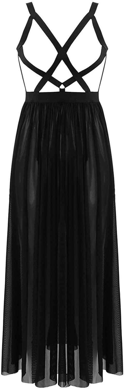 iiniim Womens Sexy High Split Sheer Mesh Long Maxi Dress Cutout Rave Festival Carnival Dress