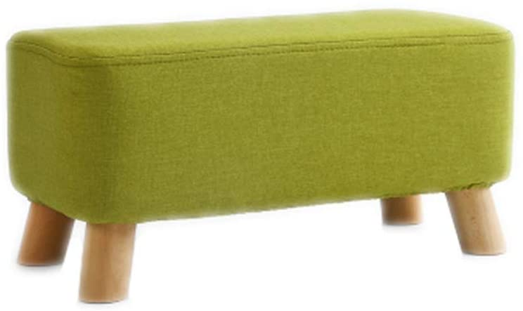 Footstool Medium Seating Chair Upholstered Comfortable Seat Foot Stools Wooden Legs Removable Linen Cover Home Multi-Function(Color : Green)