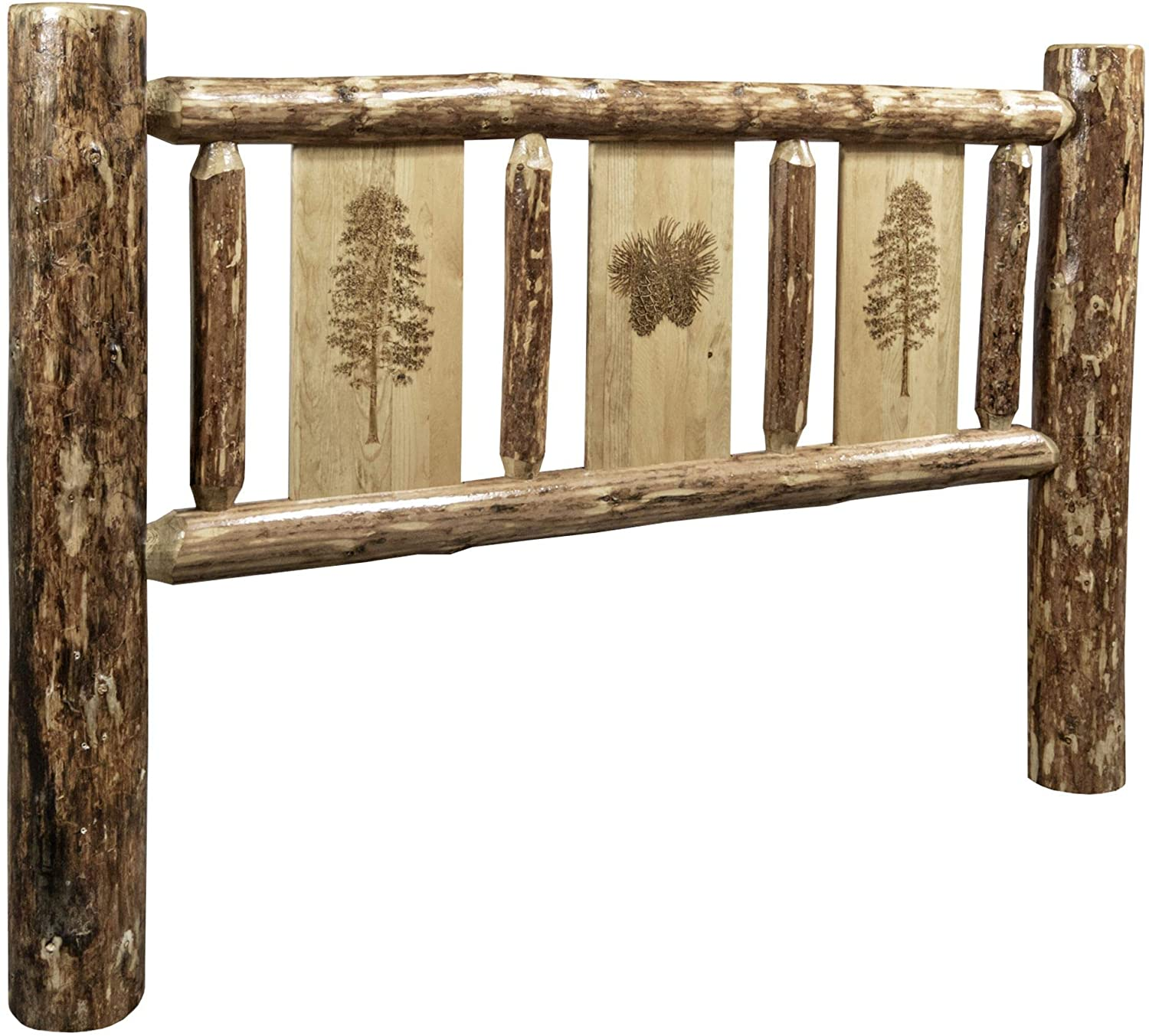 Montana Woodworks Glacier Country Collection King Headboard w/Laser Engraved Pine Design