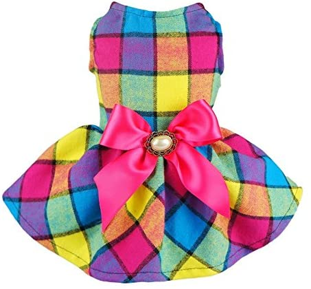Fitwarm Easter Day Plaid Pet Clothes Dog Dress Ribbon Dog Vest Shirts Apparel