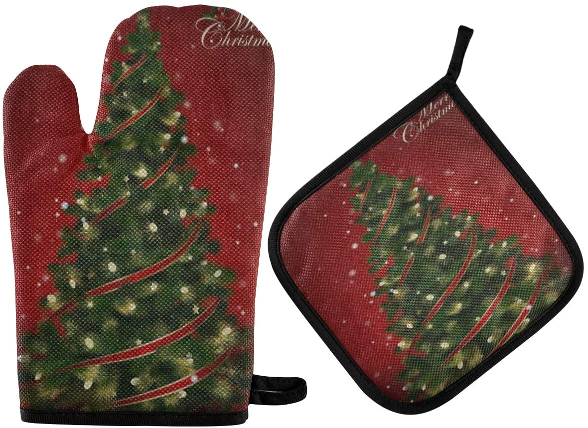 N\ A Red Merry Christmas Tree Oven Mitt and Potholder Set, 2 Pack ? Heat Resistant to 400 F ? Handle Hot Items Safely ? Non-Slip Grip Oven Mitt and Pot Holder with Hanging Loop